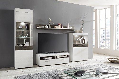 wohnwand 39 emmy 39 landhaus wei dunkle eiche m bel24. Black Bedroom Furniture Sets. Home Design Ideas