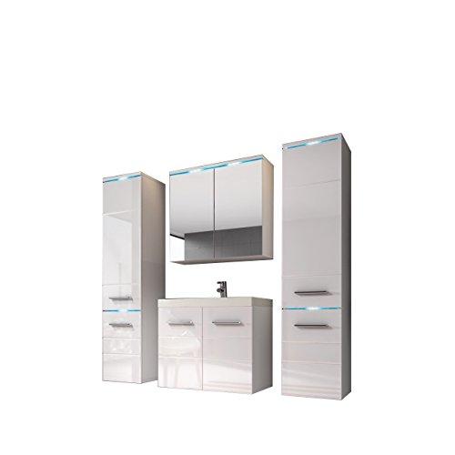 Modernes Badmöbel Set Savona II mit Waschbecken und Siphon, Badezimmer, Hochschrank, Waschtisch, Spiegelschrank Möbel Waschplatz (mit Weißer LED Beleuchtung, Weiß / Weiß Hochglanz)