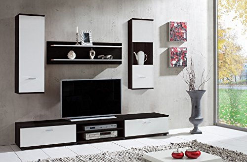 wohnwand 39 wow 39 dunkelbraun wei wohnzimmerschrank tv wand holzdekor m bel24. Black Bedroom Furniture Sets. Home Design Ideas