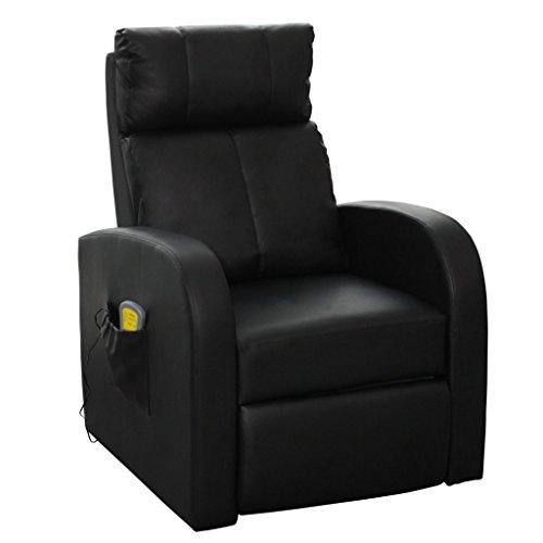 vidaXL Massagesessel Fernsehsessel Relaxsessel Massage TV Sessel mit Heizung schwarz