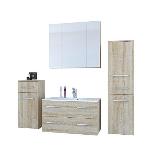 Badmöbel Set Regina mit Waschbecken und Siphon, Modernes Badezimmer, Komplett, Spiegelschrank, Waschtisch, Hochschrank, Möbel (Eiche Sonoma)