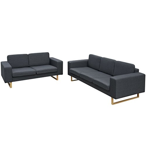 vidaXL Sofa Polstersofa 5-Sitzer Stoffsofa Loungesofa Couch Wohnzimmer Möbel Dunkelgrau