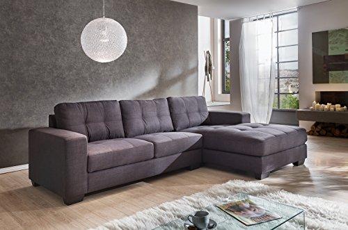 sam ecksofa garnitur aviano stoff polstergarnitur in grau ottomane rechts sofa im. Black Bedroom Furniture Sets. Home Design Ideas