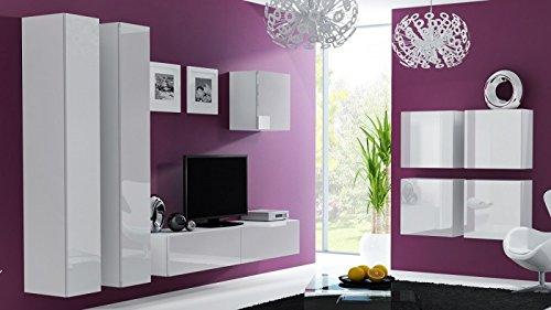 Wohnwand ' Vigo 24' Hochglanz Hängeschrank Lowboard Cube , Farbe:Weiß