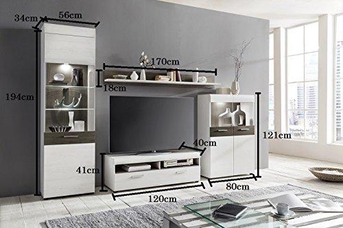 m bel24 m bel g nstig wohnwand 39 emmy 39 landhaus wei dunkle eiche 2. Black Bedroom Furniture Sets. Home Design Ideas
