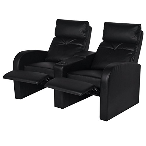vidaxl cinema sessel kinosessel heimkino fernsehsessel relaxsessel kunstleder 2 sitzer m bel24. Black Bedroom Furniture Sets. Home Design Ideas