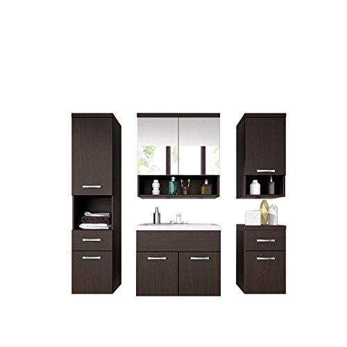 Badmöbel Set Bella III mit Waschbecken und Siphon, Modernes Badezimmer, Komplett, Spiegelschrank, Waschtisch, Hochschränk, Hängeschrank Möbel (Wenge)