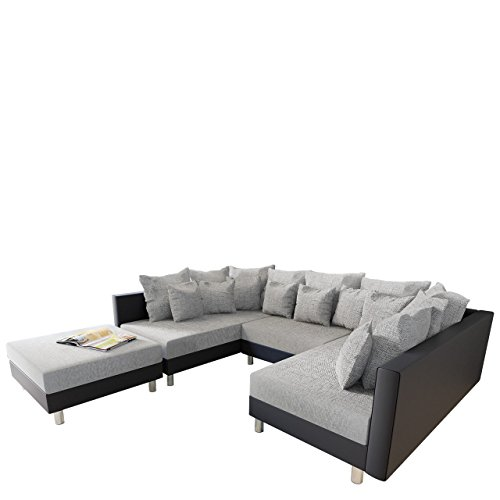 m bel24 m bel g nstig big ecksofa claudia xxl eckcouch mit schlaffunktion und polsterhocker. Black Bedroom Furniture Sets. Home Design Ideas
