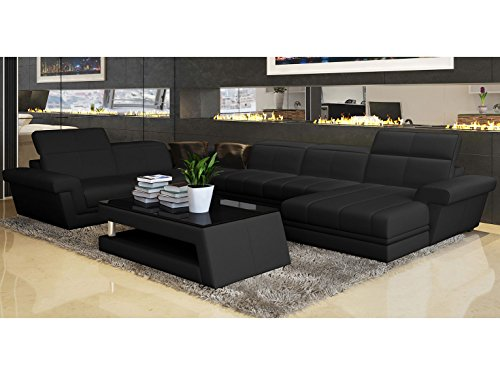 design leder wohnlandschaft xxl ledersofa schwarz asti polsterecke couchgarnitur teilleder. Black Bedroom Furniture Sets. Home Design Ideas