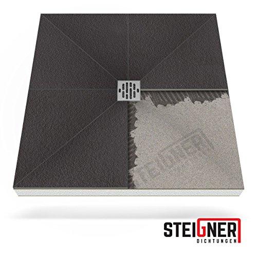 Duschelement MINERAL BASIC Duschboard befliesbar 90x90 cm Ablauf WAAGERECHT - EPS Bodenelement ebenerdig barrierefreie Duschwanne bodengleich