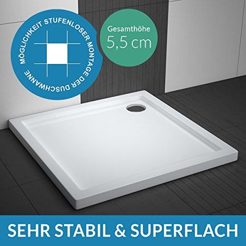 Duschwanne AQUABAD® Comfort Villa Flat 100x100cm Superflach Quadrat