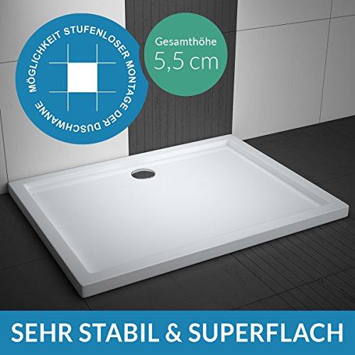 Duschwanne AQUABAD® Comfort Villa Flat 90x100cm Flach Rechteck