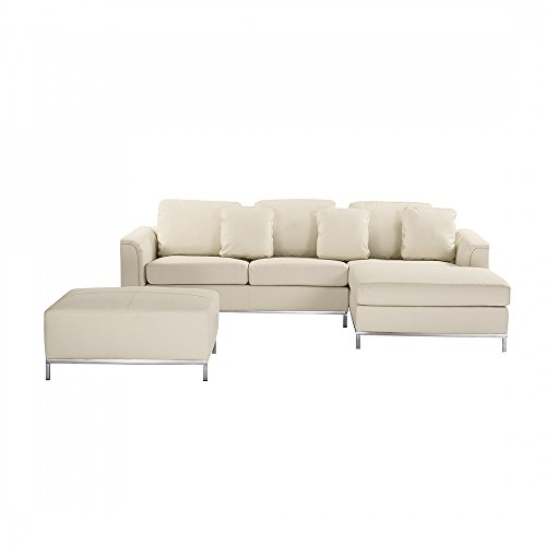 ecksofa leder beige linksseitig mit ottomane oslo m bel24 m bel g nstig. Black Bedroom Furniture Sets. Home Design Ideas