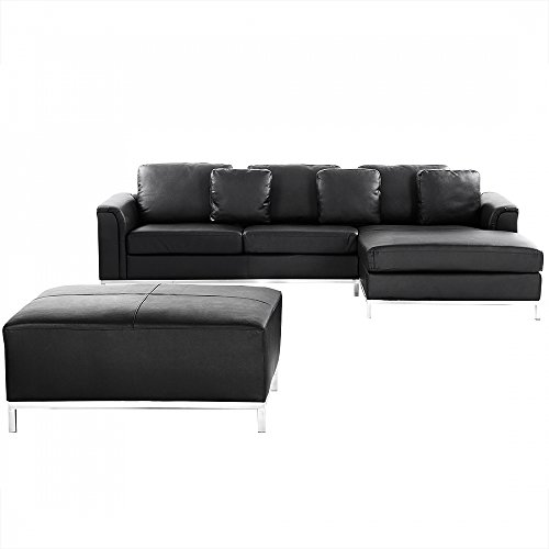 ecksofa leder schwarz linksseitig mit ottomane oslo m bel24. Black Bedroom Furniture Sets. Home Design Ideas