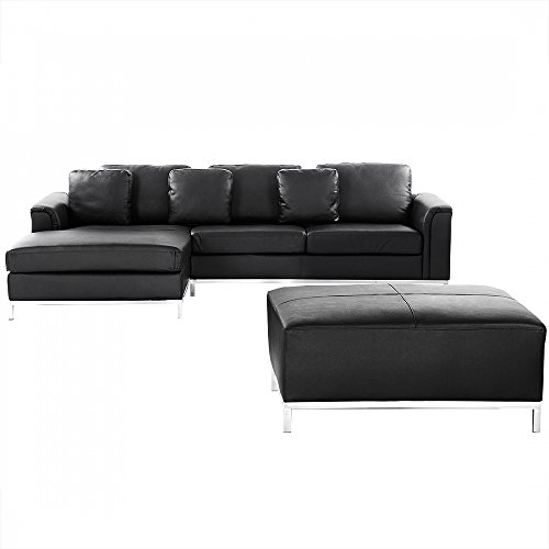 ecksofa leder schwarz rechtsseitig oslo m bel24. Black Bedroom Furniture Sets. Home Design Ideas