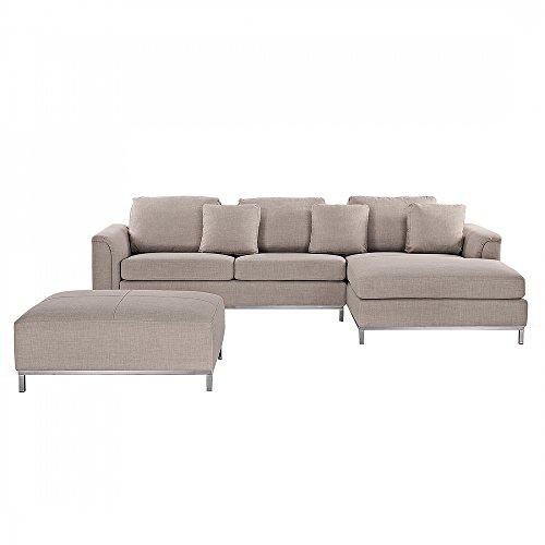 ecksofa polsterbezug beige linksseitig mit ottomane oslo. Black Bedroom Furniture Sets. Home Design Ideas