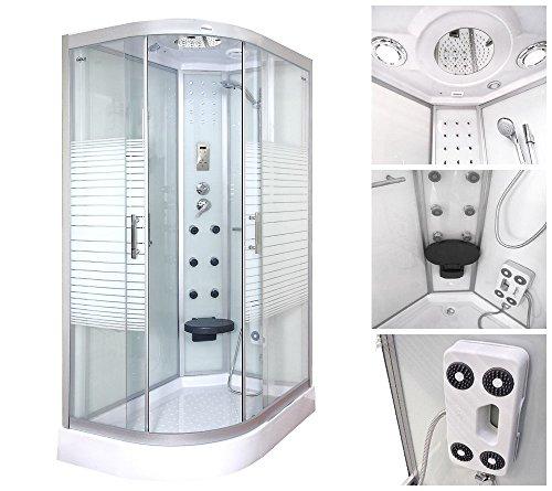 Home Deluxe Duschtempel | White Pearl | 120x80 cm | links | inkl. komplettem Zubehör