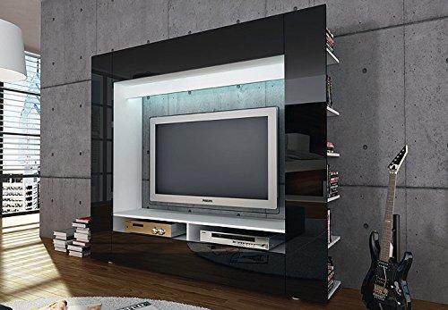 medienwand olli tv wohnwand medi front in schwarz hochglanz mit seitlichen ablagef chern m bel24. Black Bedroom Furniture Sets. Home Design Ideas