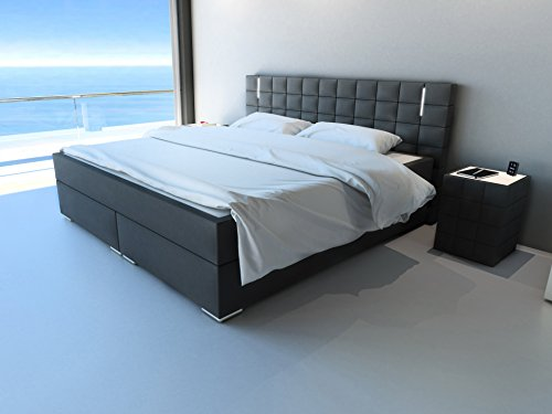 m bel24 m bel g nstig sam design boxspringbett berlin mit neo stoff bezug in anthrazit led. Black Bedroom Furniture Sets. Home Design Ideas