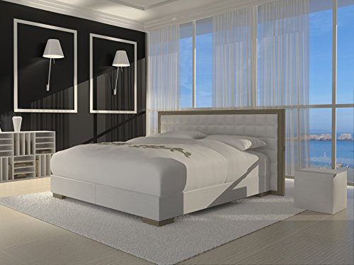 m bel24 sam design boxspringbett honolulu wei mit 7 zonen h2 taschenfederkern matratze und chrom. Black Bedroom Furniture Sets. Home Design Ideas