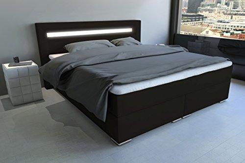 SAM LED-Boxspringbett 160x200 cm Austin, Kunstleder dunkelbraun, Nosagfederkern, 7-Zonen H3 Bonellfederkern-Matratze, Kaltschaum-Topper