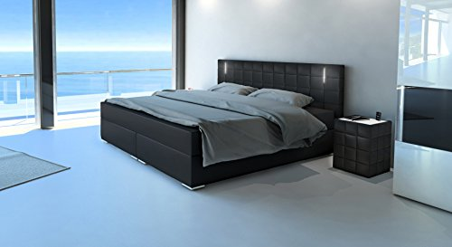 m bel24 m bel g nstig sam led boxspringbett 160x200 cm berlin schwarz nosagfederkern 7 zonen. Black Bedroom Furniture Sets. Home Design Ideas