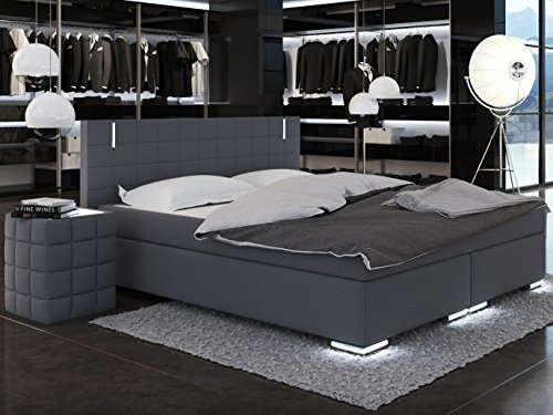 m bel24 m bel g nstig sam led boxspringbett berlin mit neo stoff bezug in anthrazit led. Black Bedroom Furniture Sets. Home Design Ideas