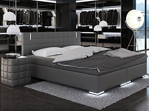 sam led boxspringbett berlin mit samolux bezug in grau led beleuchtung an fen kopfteil. Black Bedroom Furniture Sets. Home Design Ideas