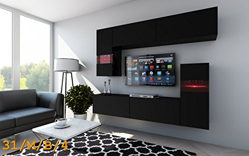 wohnwand future 31 anbauwand hochglanz matt schwarz hochglanz led 16 farbig mit fernbedienung. Black Bedroom Furniture Sets. Home Design Ideas