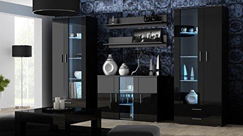 wohnwand soho anbauwand wohnzimmer m bel hochglanz vitrine kommode tv schrank korpus schwarz. Black Bedroom Furniture Sets. Home Design Ideas