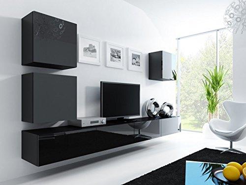wohnwand 39 vigo 22 39 hochglanz h ngeschrank lowboard cube farbe schwarz matt schwarz. Black Bedroom Furniture Sets. Home Design Ideas