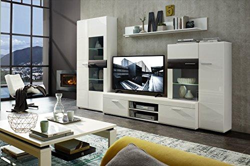 wohnwand weiss hochglanz schwarz struktur mit beleuchtung. Black Bedroom Furniture Sets. Home Design Ideas