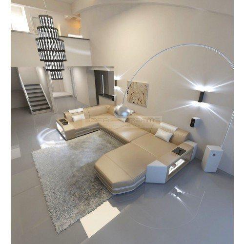 Wohnlandschaft Presto U-Form sandbeige - weiss Ecksofa Ledersofa ital. Design