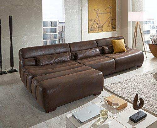 cavadore polsterecke scoutano in antiklederoptik mit longchair links sofa l form mit xxl. Black Bedroom Furniture Sets. Home Design Ideas