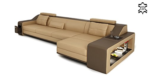 design ledersofa couch leder sofa wohnlandschaft ecksofa ledercouch eckcouch l form mit led. Black Bedroom Furniture Sets. Home Design Ideas
