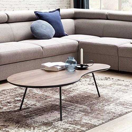 finebuy design couchtisch elma nieren form mdf holz walnuss schwarz modern 122 x 35 x 65 cm. Black Bedroom Furniture Sets. Home Design Ideas