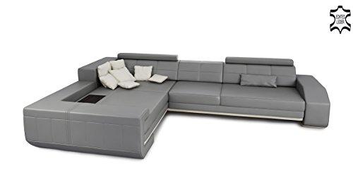 Leder Wohnlandschaft Eckcouch Sofa Couch Ledersofa Ledercouch Design Ecksofa L-Form mit LED-Licht Beleuchtung BENZO