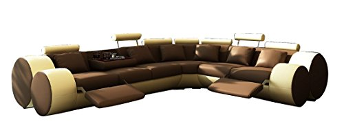 jvmoebel ledersofa design ecksofa madrid mit relaxfunktion braun beige 310x270 oder 270x310. Black Bedroom Furniture Sets. Home Design Ideas