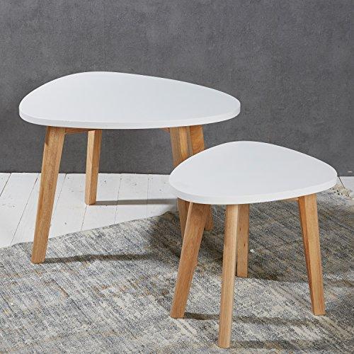 2er set nierentische satztische beistelltische couchtische wei natur im retro bzw. Black Bedroom Furniture Sets. Home Design Ideas