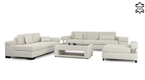 ledersofa sofagarnitur couchgarnitur wei ledercouch 3 sitzer daybed xl hocker ecksofa couch. Black Bedroom Furniture Sets. Home Design Ideas