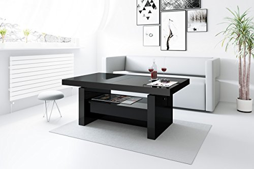 design couchtisch h 111 schwarz hochglanz schublade h henverstellbar ausziehbar tisch m bel24. Black Bedroom Furniture Sets. Home Design Ideas