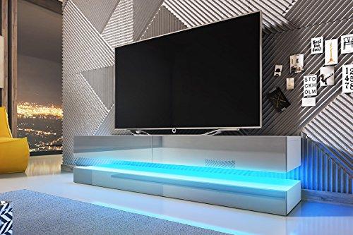 Aviator – TV-Board in Schwebeoptik/TV-Hängeschrank/Fernsehschrank (140 cm, weiß matt/grau Hochglanz mit LED blau)