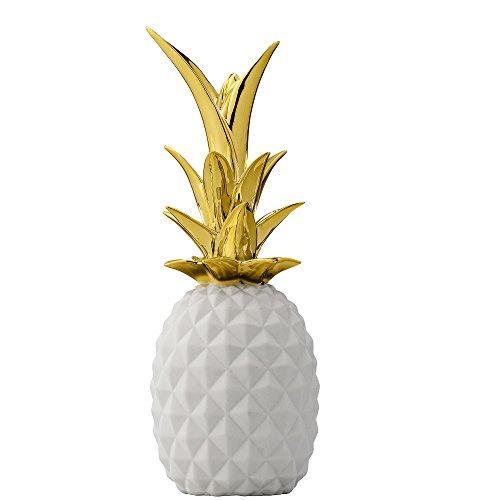 Bloomingville Deko Ananas Weiß-Gold