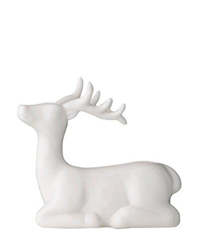 Bloomingville - Deko-Rentier - Liegend - Keramik - weiß - 10,5 x 4,5 x 10 cm