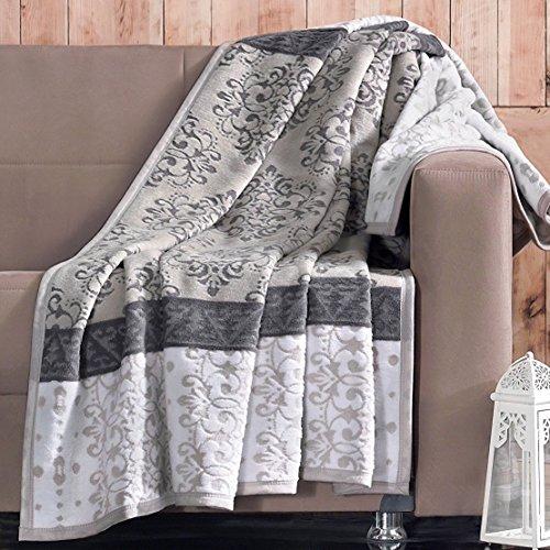 Delindo Lifestyle® Wohndecke SILVETTA BRAUN / 450g/m² Kuscheldecke aus 60% Baumwolle / 150x200 cm / Tagesdecke / Wolldecke für Erwachsene und Kinder