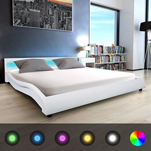 festnight polsterbett bett doppelbett ehebett mit led und. Black Bedroom Furniture Sets. Home Design Ideas