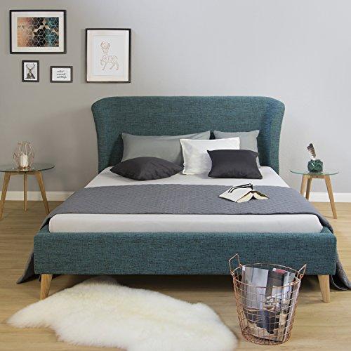 Homestyle4u gepolsterten Rahmen 1Bett türkis, blau, Kleines Doppelbett