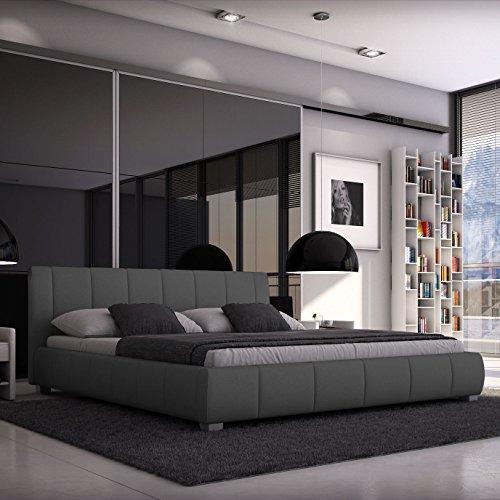 luna polsterbett 140x200 cm doppelbett bett designerbett kunstleder grau m bel24. Black Bedroom Furniture Sets. Home Design Ideas