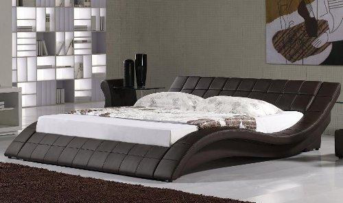 polsterbett kunstlederbett r0m 180x200 cm braun aus. Black Bedroom Furniture Sets. Home Design Ideas