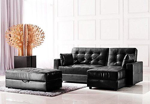 polsterecke lederfaserstoff ecksofa eckcouch despina schwarz bettfunktion bettkasten ottomane. Black Bedroom Furniture Sets. Home Design Ideas